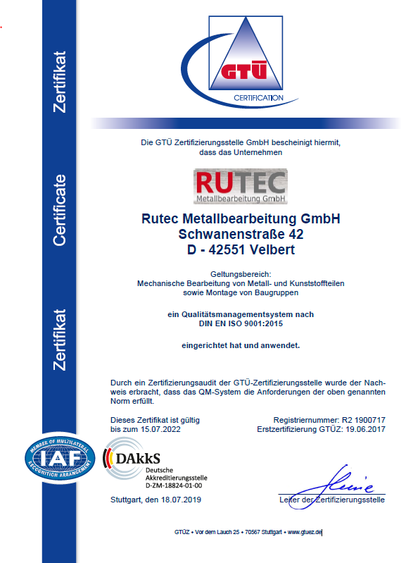 RUTEC Zertifikat IS0 9001:2015